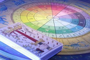 Close Up of Tarot Cards and Zodiac Wheel